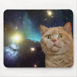 Cat staring at the universe mouse mat