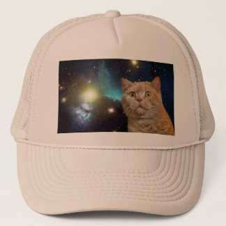 Cat staring at the universe trucker hat