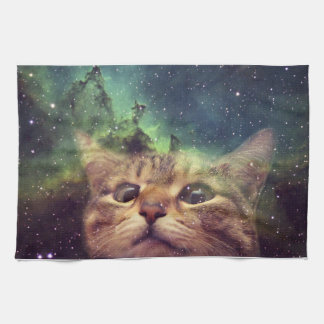 Cat Staring into Space Tea Towel