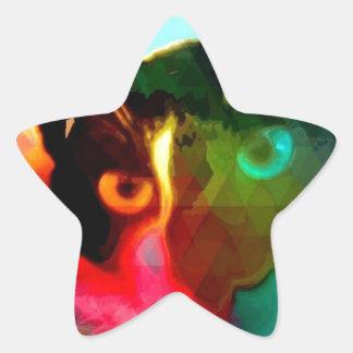 cat autocolante em forma de estrela