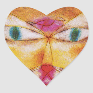 """Cat Stickers:  """"Cat and Bird"""" by Paul Klee Heart Sticker"""