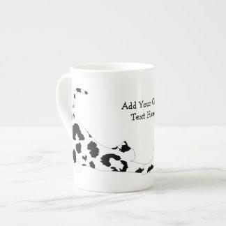 Cat Stretch Bone China Mugs  - Black Leopard Print
