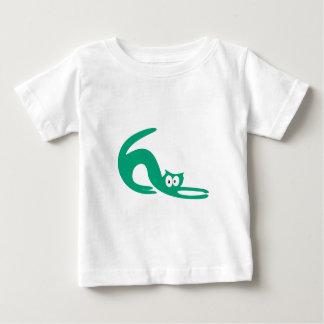 Cat Stretch Green Hello Eyes Baby T-Shirt