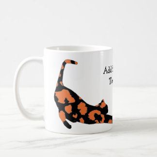Cat Stretch Mug - Orange Leopard Print Basic White Mug