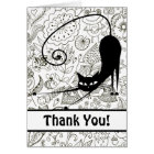 Cat Stretching in Black and White Garden Thank You Card