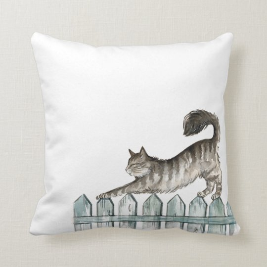Cat Stretching Throw Pillow