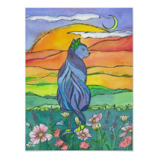 Cat Sunset Watercolor Painting Poster