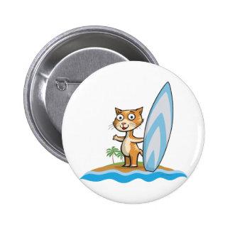 Cat Surfer 6 Cm Round Badge