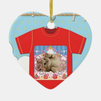Cat T shirt Ceramic Heart Decoration