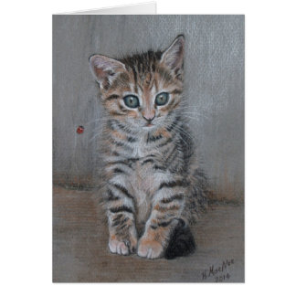 Cat, tabby kitten, just posing, fine art. card