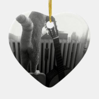 Cat Tail. Black/White Ceramic Heart Decoration