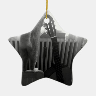 Cat Tail. Black/White Christmas Ornament
