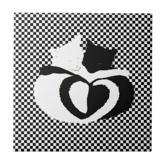 CAT tails - love black white Small Square Tile