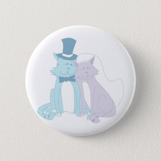 Cat Theme Wedding 6 Cm Round Badge