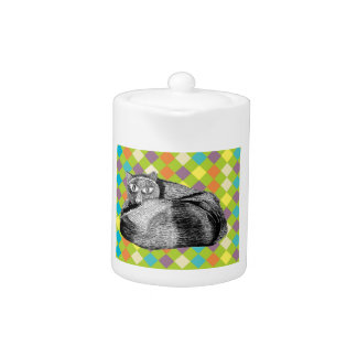 Cat Themed Small White Teapot