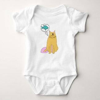 Cat thinking of Fish Baby Bodysuit