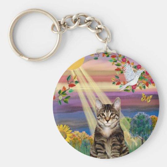 Cat (Tiger) - Autumn Sun Basic Round Button Key Ring