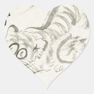 Cat (Tiger?) & poem by Sengai Heart Sticker