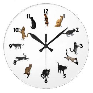 Cat Time Large Clock