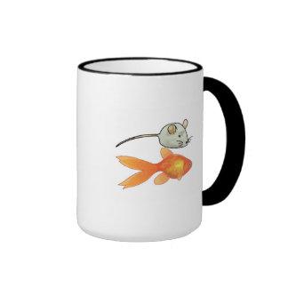 Cat Treats (Mice and Fish) Ringer Mug