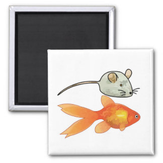 Cat Treats (Mice and Fish) Square Magnet