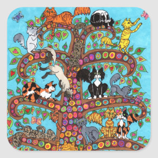 Cat Tree of Life 2 Square Sticker