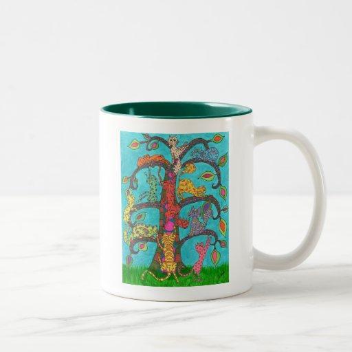 Cat Tree of Life Two-Tone Mug