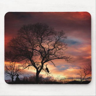 Cat & Tree Silhouette at Sunset Mouse Mat