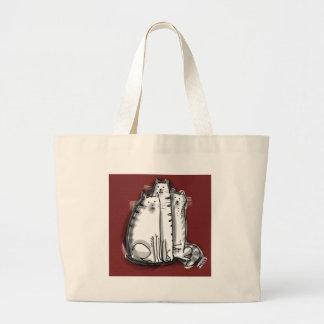 cat trio cartoon style illustration jumbo tote bag