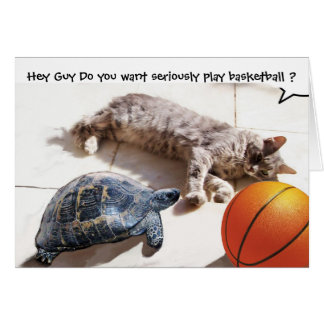 CAT ,TURTLE  AND BASKETBALL GREETING CARD