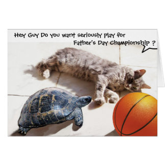CAT ,TURTLE  AND BASKETBALL Father's Day Greeting Card
