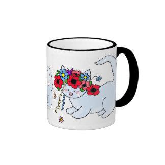 Cat Ukrainian Folk Art Ringer Coffee Mug