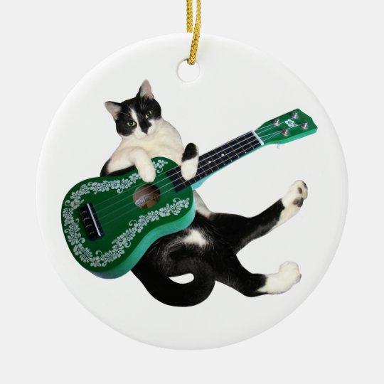 Cat Ukulele Christmas Ornament