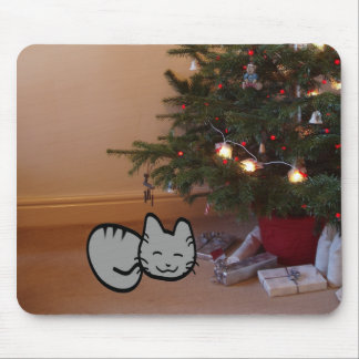 Cat Under A Christmas Tree Mousepad