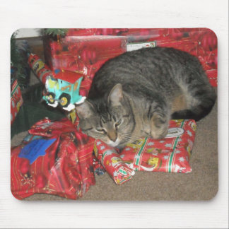 Cat Under Christmas Tree Mouse Pad