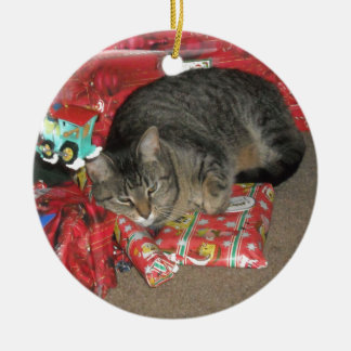 Cat Under Christmas Tree Round Ceramic Decoration
