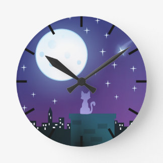 Cat Under The Moonlight Round Clock