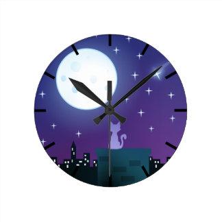 Cat Under The Moonlight Wall Clocks
