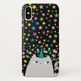Cat Unicorn Caticorn Stars Black Magic Wizard Cute iPhone X Case