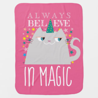 Cat Unicorn Stars Cute Believe in Magic Colorful Baby Blanket