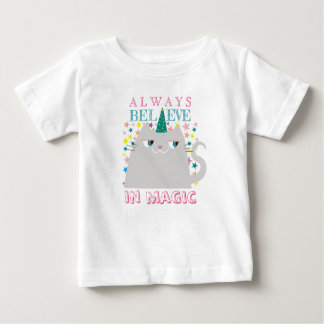 Cat Unicorn Stars Cute Believe in Magic Colorful Baby T-Shirt