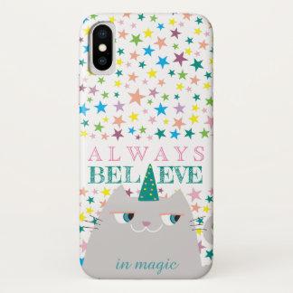 Cat Unicorn Stars Cute Believe in Magic Colorful iPhone X Case