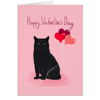 Cat Valentines Day Card  Cute Cat Card