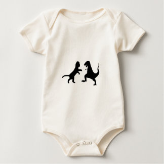 cat vs t-rex baby bodysuit
