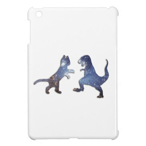 CAT VS T-REX - SPACE TEXTURE iPad MINI COVERS