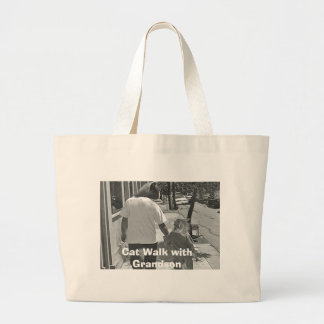 Cat Walk with Grandson Jumbo Tote Bag