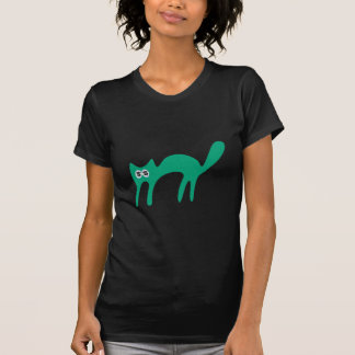Cat Walking About Green Cash Eyes Blue T-Shirt