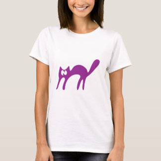 Cat Walking About Purple Yeah Topsy Turvey Eyes T-Shirt