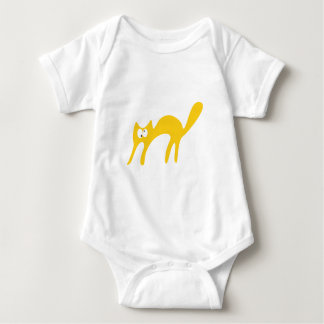 Cat Walking About Yellow Topsy Turvey Eyes Baby Bodysuit