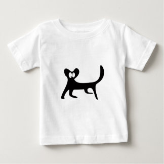 Cat Walking Sideways Black Topsy Turvey Eyes Baby T-Shirt